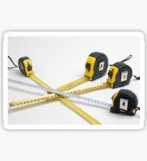 4 yellow and one unique white measuring tape on white background Sticker