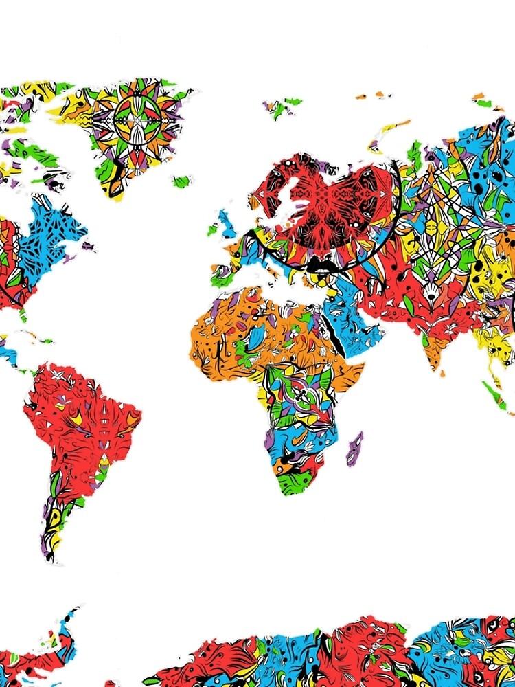 Weltkarte Mandala 8 von BekimART