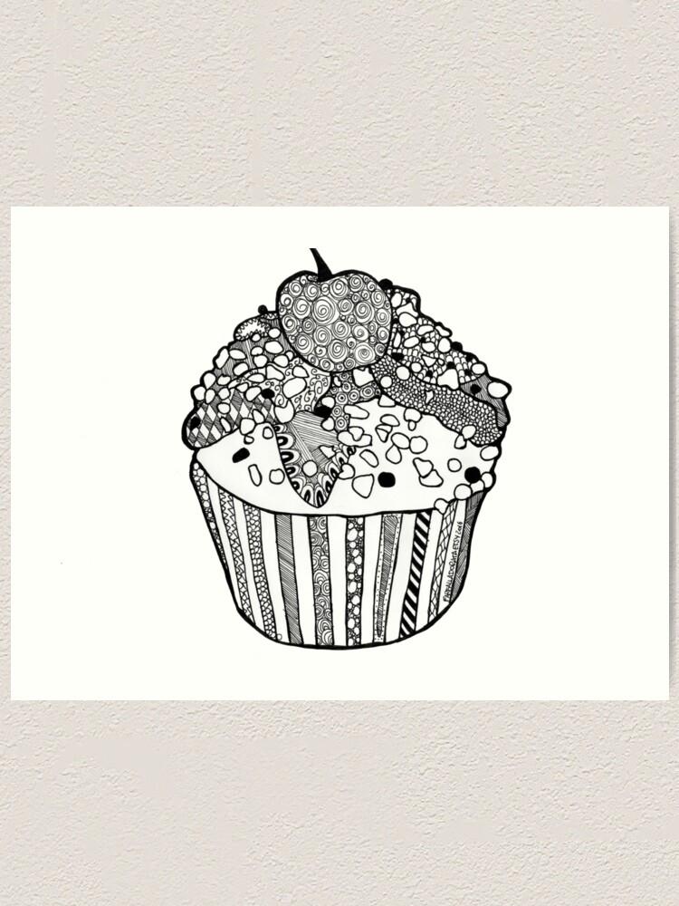 Cupcake Imprimer Dessiner Zentangle Noir Et Blanc Impression Artistique