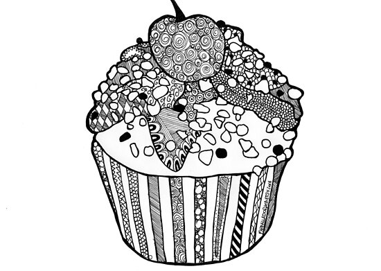 Cupcake Print Draw Zentangle Black And White Poster By Farfalladorata