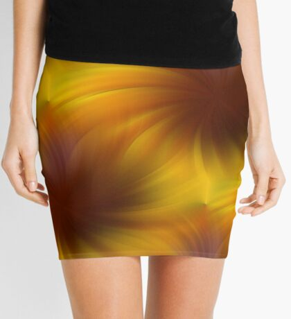 Swirling Yellow And Brown Abstract Pattern Mini Skirt
