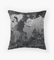 world map mandala black 2 Throw Pillow