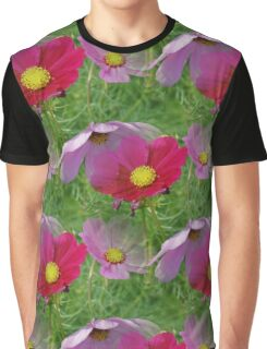 Cosmos Flowers Nature Pattern Graphic T-Shirt