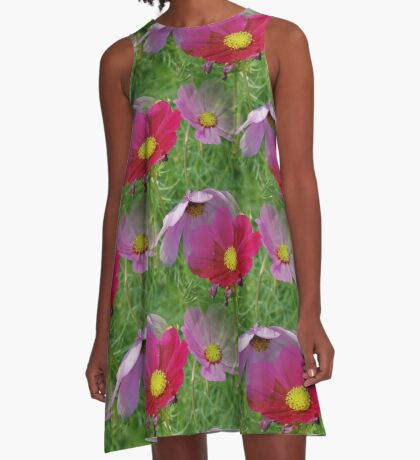 Cosmos Flowers Nature Pattern A-Line Dress