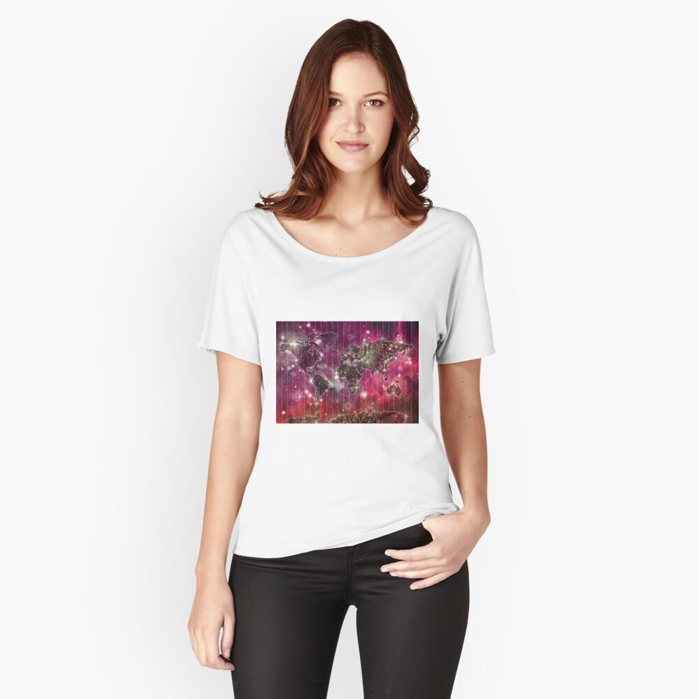 Weltkarte Mandala Raum 2 Loose Fit T-Shirt