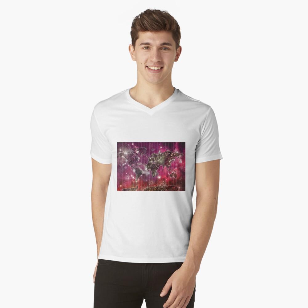 Weltkarte Mandala Raum 2 T-Shirt mit V-Ausschnitt