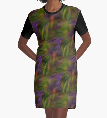Abstract Colors Of Purple Green Yellow Graphic T-Shirt Dress