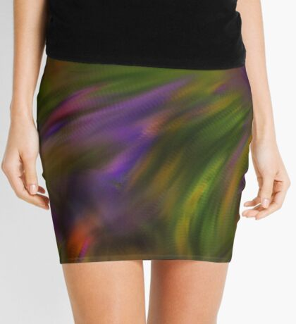 Abstract Colors Of Purple Green Yellow Mini Skirt