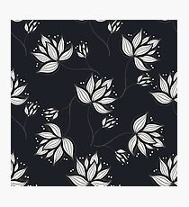 White Flowers On Dark Photographic Print