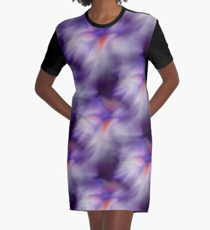 Blue Purple And White Abstract Colors Graphic T-Shirt Dress