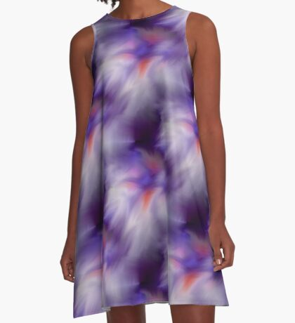 Blue Purple And White Abstract Colors A-Line Dress