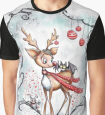 Creepy Cute Christmas Reindeer and Bat Graphic T-Shirt