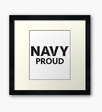 Navy Proud navy blue distressed Framed Print