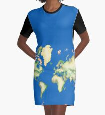Old World Map in Ink Graphic T-Shirt Dress