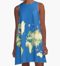 Old World Map in Ink A-Line Dress