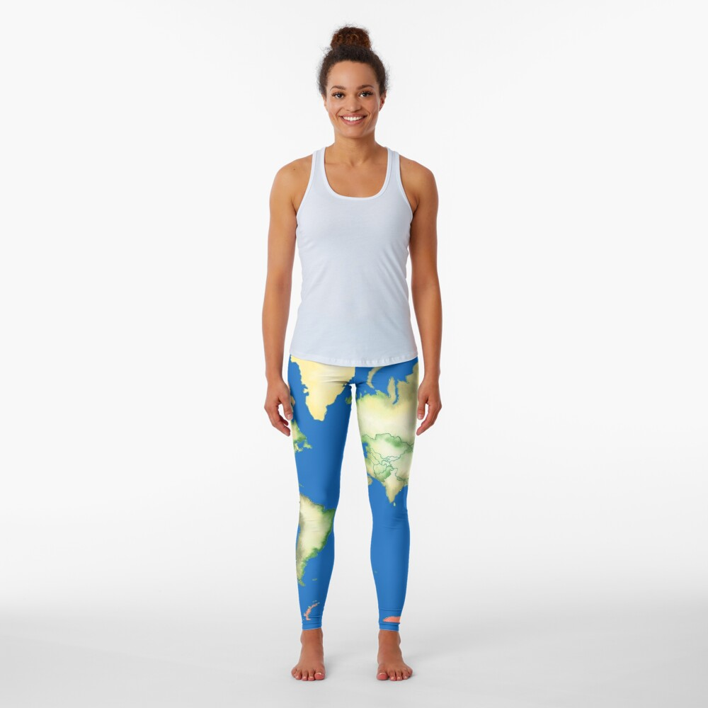 Old World Map in Ink Leggings