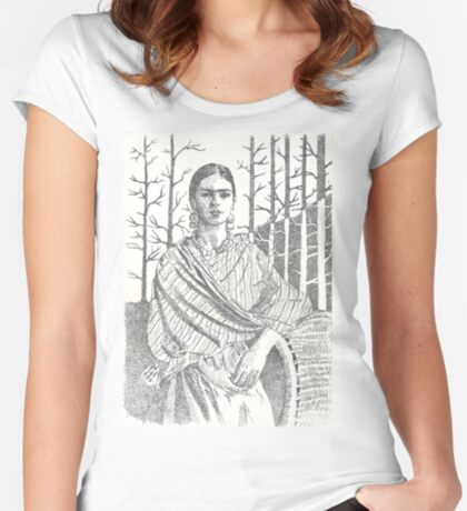 Frida Khalo and trees Fitted Scoop T-Shirt