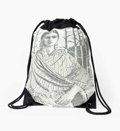 Frida Khalo and trees Drawstring Bag