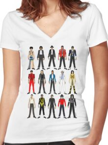 Outfits of King Jackson Pop Music Fashion Women's Fitted V-Neck T-Shirt