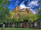 Edinburgh Castle from graveyard, Edinburgh, Scotland by Beth A.  Richardson