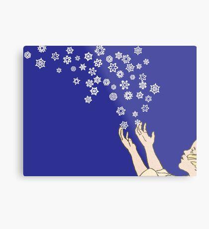 First Snow Night Snowflakes Metal Print