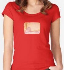 Cute Little Sitting Wolf Women's Fitted Scoop T-Shirt