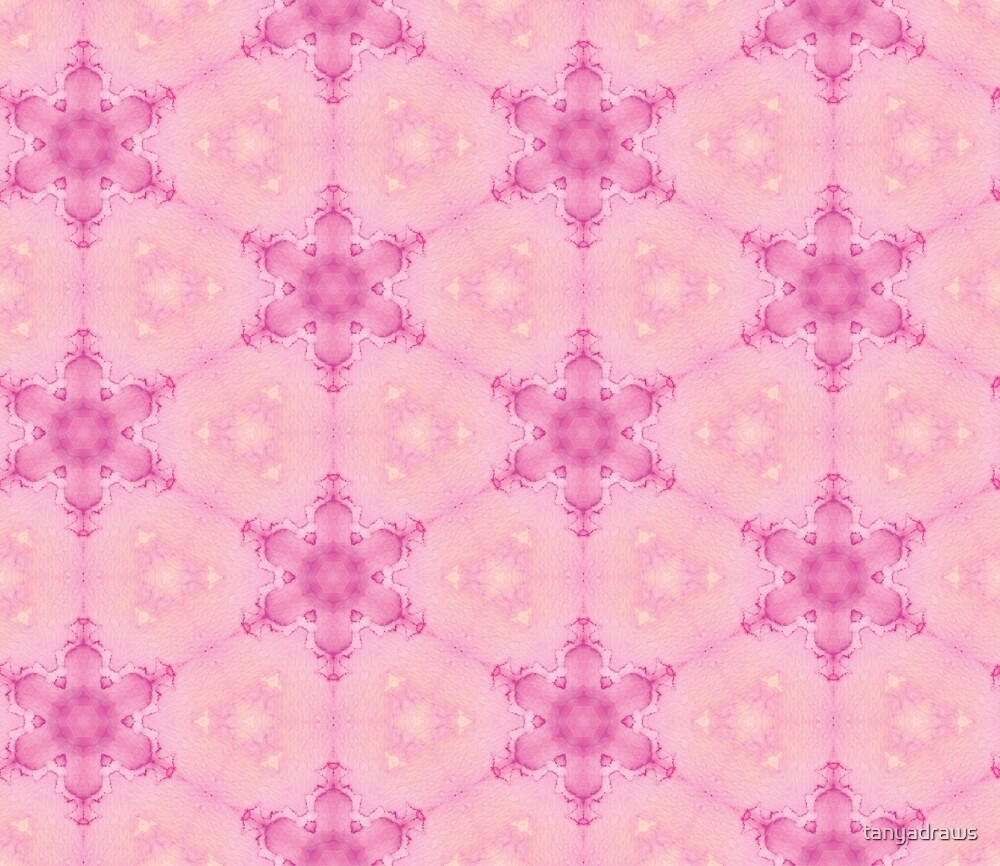 Pink Crystalline Watercolour Flowers Pattern by tanyadraws