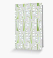White Digital Lily of the Valley Floral Pattern Greeting Card