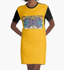 Tiffany Stained Glass Butterfly Graphic T-Shirt Dress