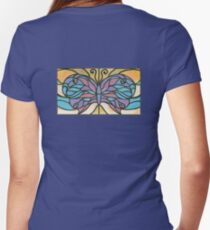 Tiffany Stained Glass Butterfly Fitted V-Neck T-Shirt