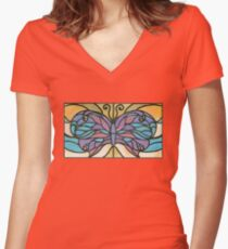 Tiffany Stained Glass Butterfly Women's Fitted V-Neck T-Shirt