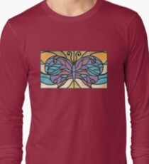 Tiffany Stained Glass Butterfly Long Sleeve T-Shirt