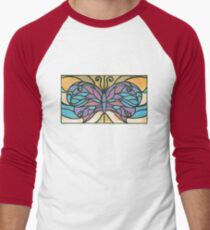 Tiffany Stained Glass Butterfly Men's Baseball ¾ T-Shirt
