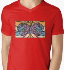 Tiffany Stained Glass Butterfly V-Neck T-Shirt
