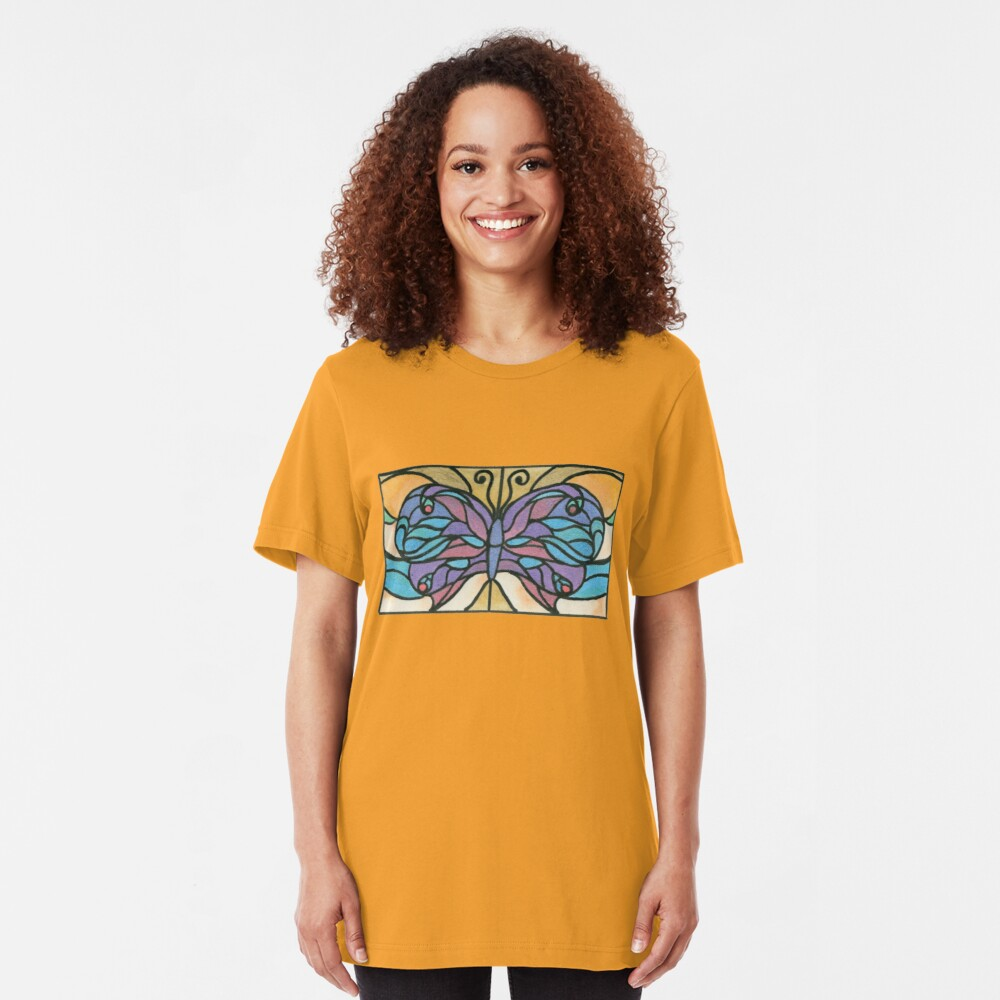 Tiffany Stained Glass Butterfly Slim Fit T-Shirt