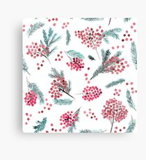 Christmas red berris and fir twigs Canvas Print
