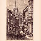 Antique Engraving Old Print Milano Italy by kishART