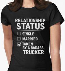 Taken By A Trucker Shirt, Gift for Girlfriend Womens Fitted T-Shirt
