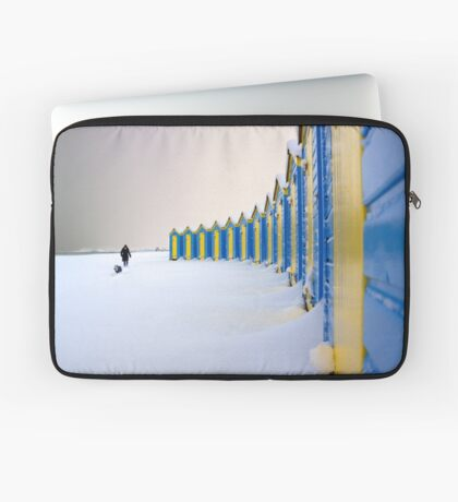 Beach Huts In The Snow Laptop Sleeve