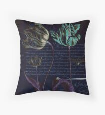 Black Tulips with Calligraphy  Throw Pillow