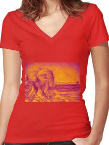 Lost In The Wind, 2016, 50-70 cm, graphite crayon on paper Women's Fitted V-Neck T-Shirt