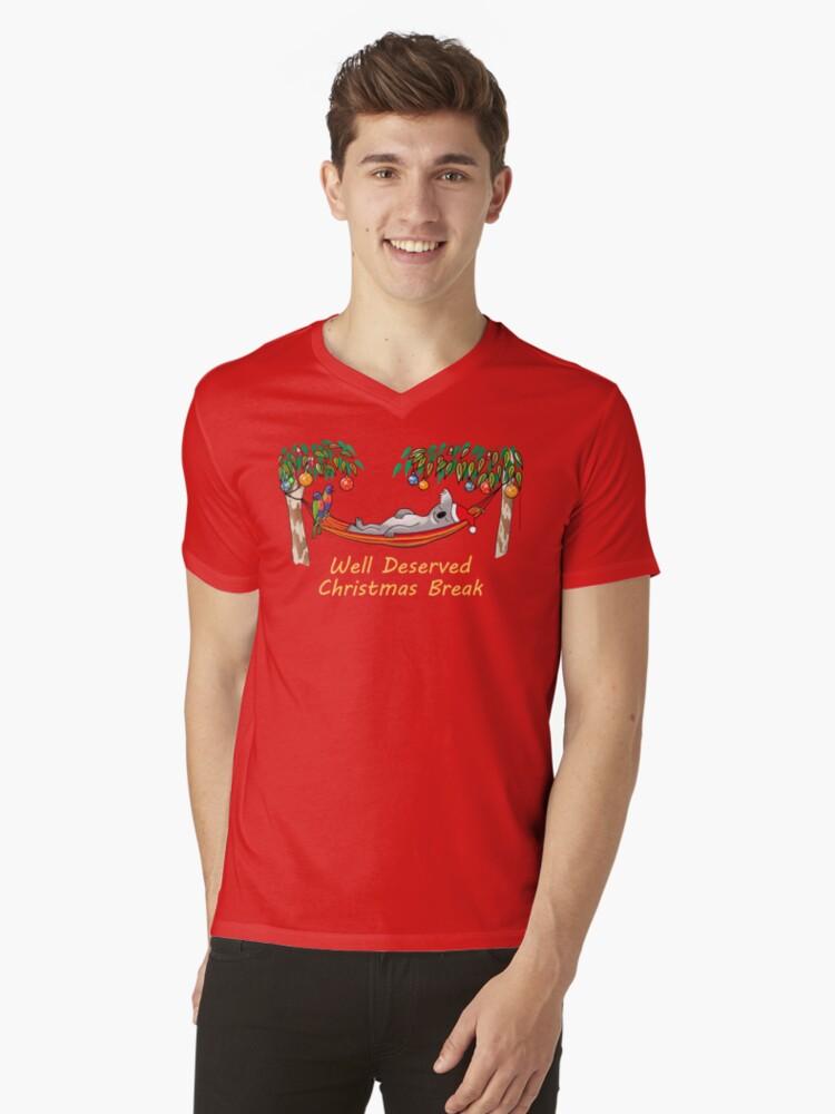 Koala Relaxing on its Hammock on a Well Deserved Christmas Break Mens V-Neck T-Shirt Front
