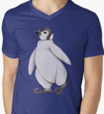 Skating Penguin - Ice Skating Penguin Men's V-Neck T-Shirt