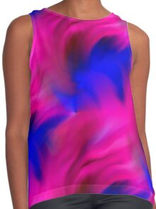 Hot Pink And Blue Abstract Strokes Contrast Tank