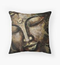 Buddha face brown Throw Pillow