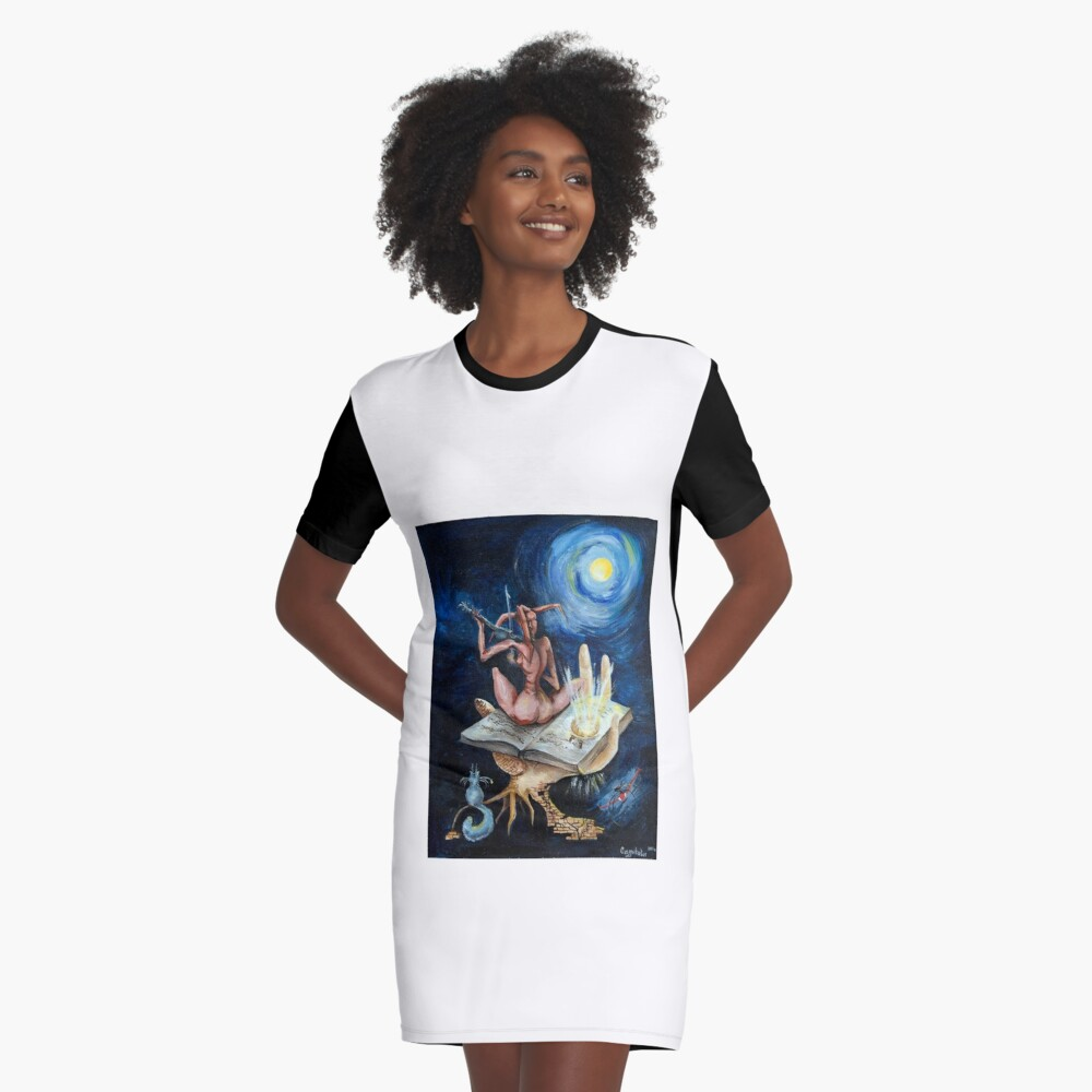 Dreams on a moonlit night Graphic T-Shirt Dress Front