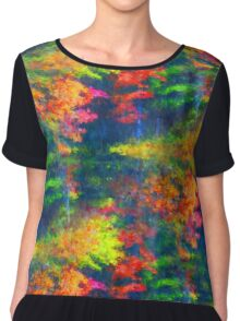Red Yellow Green Abstract Colors Women's Chiffon Top