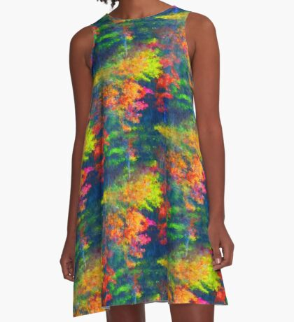 Red Yellow Green Abstract Colors A-Line Dress