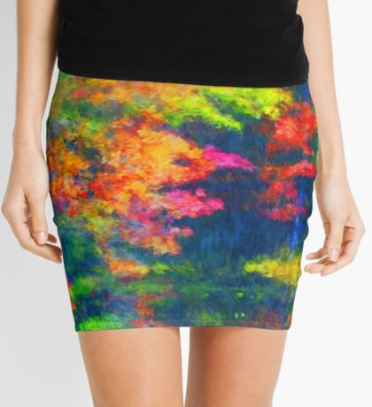 Red Yellow Green Abstract Colors Mini Skirt