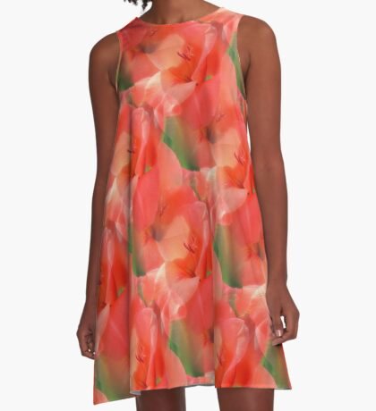 Peach Gladiola Flower Pattern A-Line Dress